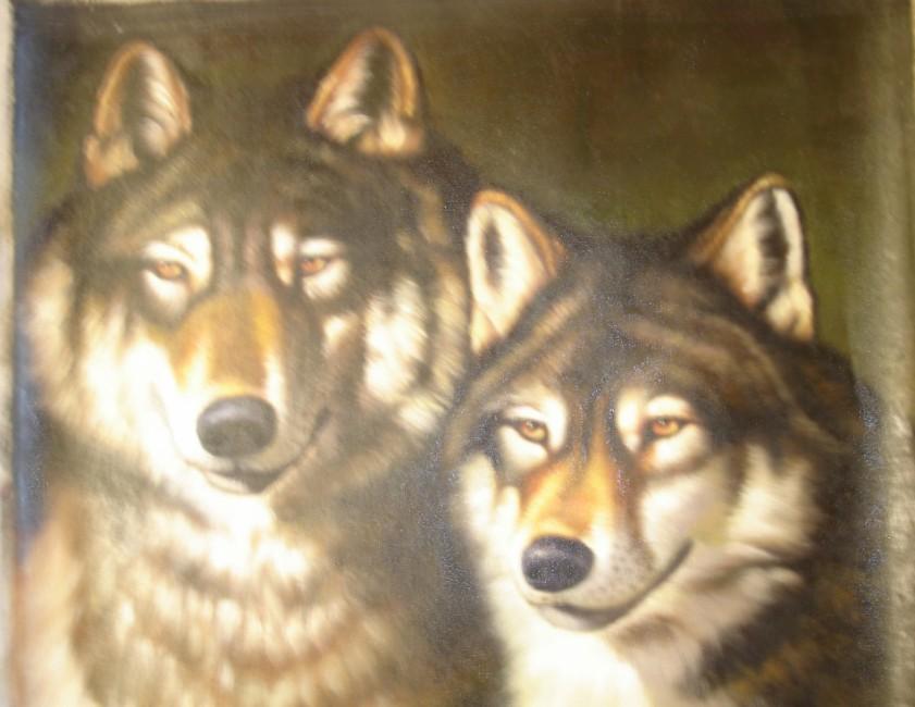 Пара волков неизвестный масло